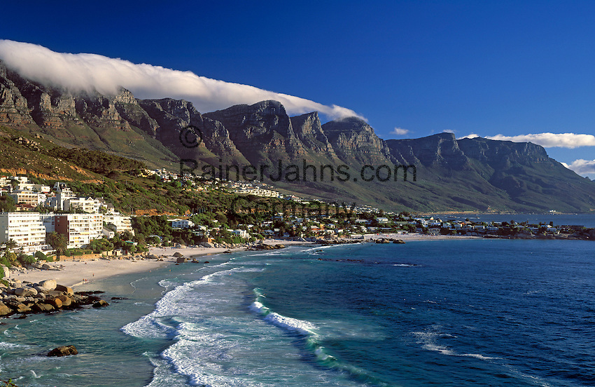 "South Africa, Cape Town, Clifton Beach at Bantry Bay and ""12 Apostle"" Mountains"