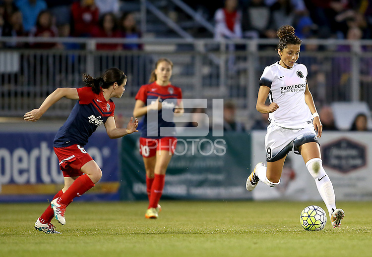 Boyds, MD - Saturday May 07, 2016: Washington Spirit forward Diana Matheson (8) runs towards Portland Thorns FC forward Nadia Nadim (9) during a regular season National Women's Soccer League (NWSL) match at Maureen Hendricks Field, Maryland SoccerPlex. Washington Spirit tied the Portland Thorns 0-0.