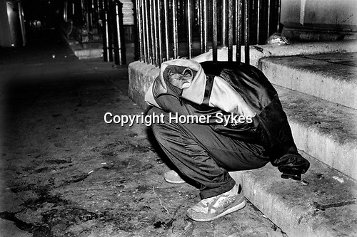 Glue sniffing teenagers sleeping rough central London 1983. UK<br /> <br /> <br /> My ref 20/4580/, 1983,