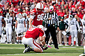 29 October 2011: Brett Maher #96 of the Nebraska Cornhuskers kicks a field goal in the first quarter against the Michigan State Spartans at Memorial Stadium in Lincoln, Nebraska.  Nebraska defeated Michigan State 24 to 3.