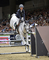 Lauren Hough (USA), riding Reconnaissance at the Gucci Gold Cup International Jumping competition at the 2015 Longines Masters Los Angeles at the L.A. Convention Centre.<br /> October 3, 2015  Los Angeles, CA<br /> Picture: Paul Smith / Featureflash