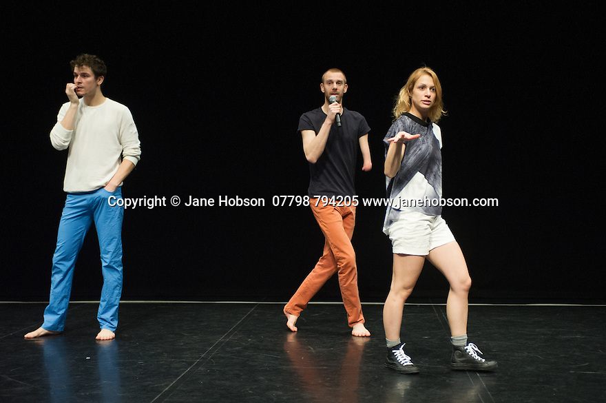 "London, UK. 09.12.2014. Candoco Dance Company presents ""Let's Talk About Dis"", choreographed by Hetain Patel, in the Queen Elizabeth Hall, in the Southbank Centre. Picture shows: Andrew Graham, Toke Broni Strandby, Laura Patay. Photograph © Jane Hobson."