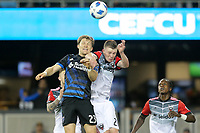 San Jose, CA - Saturday May 19, 2018: Florian Jungwirth, Chris Durkin during a Major League Soccer (MLS) match between the San Jose Earthquakes and D.C. United at Avaya Stadium.