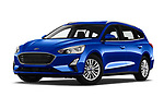 Stock pictures of low aggressive front three quarter view of a 2018 Ford Focus Clipper Titanium Business 5 Door Wagon