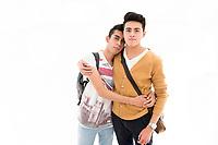 boyfriends Christian Dasaheb Rodriguez Aranda (white shirt) and Mario Castro Serano. Model Release #38 and #39.  Moving Portraits, Monumento a la Revolucion, Mexico City, Mexico