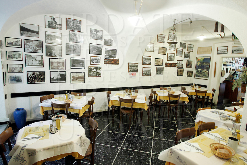 L'interno della trattoria O Bansin, a Rapallo.<br /> Interior of the trattoria O Bansin in Rapallo.<br /> UPDATE IMAGES PRESS/Riccardo De Luca