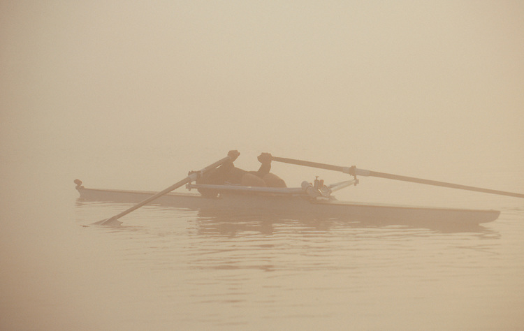 Rowing, Fog, Exhausted single sculler, single racing shell, end of a rowing workout,  High Performance Team, Pocock Rowing Center, Seattle, Pacific Northwest,
