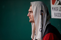 Richmond Flying Squirrels starting pitcher Sean Hjelle (43) in the dugout during an Eastern League game against the Bowie Baysox on August 15, 2019 at Prince George's Stadium in Bowie, Maryland.  Bowie defeated Richmond 4-3.  (Mike Janes/Four Seam Images)