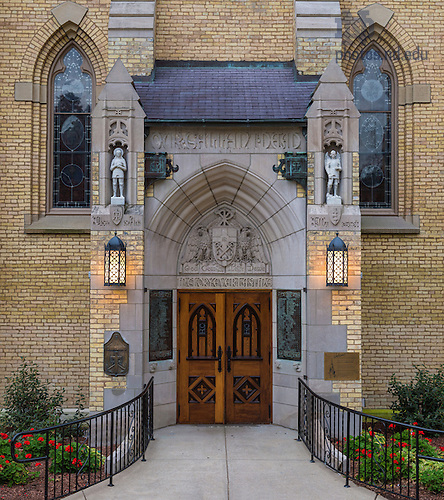 "Oct. 13, 2014; Basilica east door, with the inscription ""God Country Notre Dame."" (Photo by Matt Cashore/University of Notre Dame)"