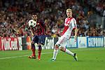 UEFA Champions League 2013/2014.<br /> FC Barcelona vs AFC Ajax: 4-0 - Game: 1.<br /> Dani Alves vs Poulsen.