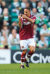 Suso Santana celebrates his goal for Hearts