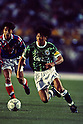 (R-L) Kazuyoshi Miura (Verdy), Satoru Noda (Marinos),..MAY 15, 1993 - Football :..J.League Opening Match between Verdy Kawasaki 1-2 Yokohama Marinos at National Stadium in Tokyo. Japan. (Photo by Katsuro Okazawa/AFLO)
