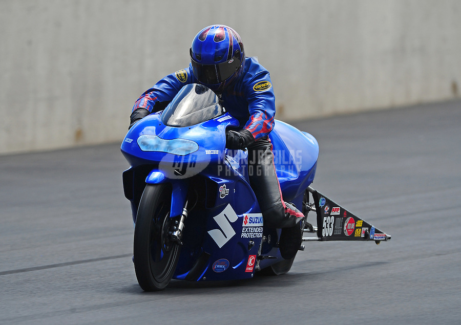 Jul. 24, 2011; Morrison, CO, USA: NHRA pro stock motorcycle rider Jim Underdahl during the Mile High Nationals at Bandimere Speedway. Mandatory Credit: Mark J. Rebilas-
