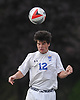 Matthew Kenny #12 of Kellenberg makes a header during a Nassau-Suffolk CHSAA varsity boys soccer game against St. Anthony's at Kellenberg High School on Thursday, Sept. 21, 2017. St. Anthony's won by a score of 1-0.