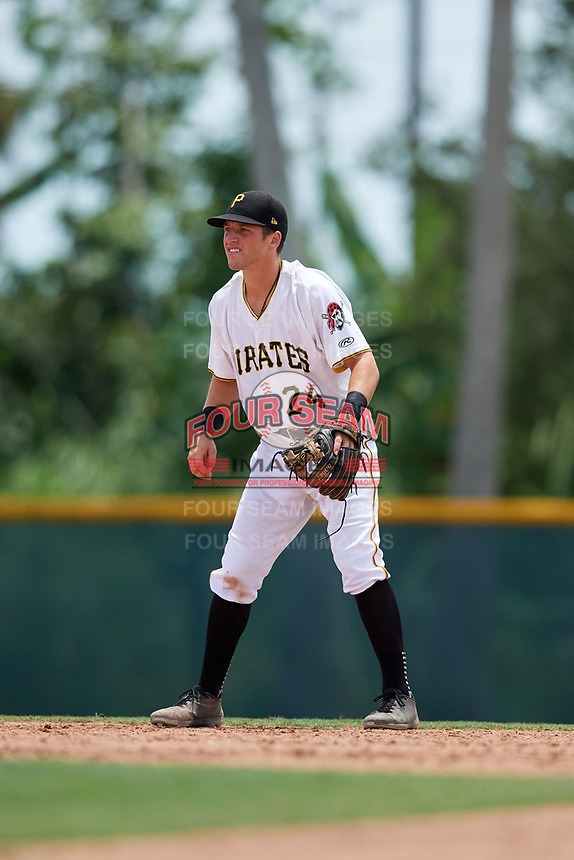 GCL Pirates shortstop Kyle Mottice (24) during a game against the GCL Tigers West on August 13, 2018 at Pirate City Complex in Bradenton, Florida.  GCL Tigers West defeated GCL Pirates 5-1.  (Mike Janes/Four Seam Images)