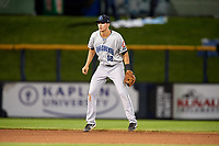 Lake County Captains shortstop Luke Wakamatsu (12) during a game against the Quad Cities River Bandits on May 6, 2017 at Modern Woodmen Park in Davenport, Iowa.  Lake County defeated Quad Cities 13-3.  (Mike Janes/Four Seam Images)