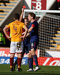 17.02.2019: Motherwell v Hearts: Ben Garuccio sees red from ref Nick Walsh