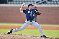 Pittsburgh Panthers starting pitcher Matt Pidich (41) swings at a pitch during a game against the North Carolina Tar Heels at Boshamer Stadium on March 17, 2018 in Chapel Hill, North Carolina. The Tar Heels defeated the Panthers 4-0. (Tony Farlow/Four Seam Images)