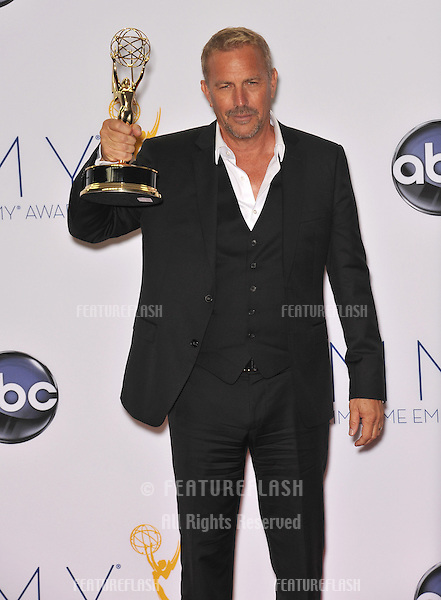 Kevin Costner at the 64th Primetime Emmy Awards at the Nokia Theatre LA Live..September 23, 2012  Los Angeles, CA.Picture: Paul Smith / Featureflash