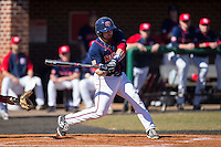 Jimmy Spanos (13) of the Shippensburg Raiders at bat against the Belmont Abbey Crusaders at Abbey Yard on February 8, 2015 in Belmont, North Carolina.  The Raiders defeated the Crusaders 14-0.  (Brian Westerholt/Four Seam Images)