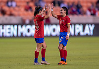 HOUSTON, TX - JANUARY 28: Priscila Chinchilla #14 of Costa Rica celebrates her goal with Lixy Rodriguez during a game between Costa Rica and Panama at BBVA Stadium on January 28, 2020 in Houston, Texas.