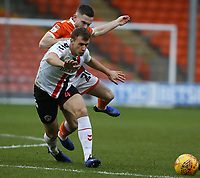 Charlton Athletic's Krystian Bielik shields the ball from Blackpool's Oliver Turton<br /> <br /> Photographer Stephen White/CameraSport<br /> <br /> The EFL Sky Bet League One - Blackpool v Charlton Athletic - Saturday 8th December 2018 - Bloomfield Road - Blackpool<br /> <br /> World Copyright &copy; 2018 CameraSport. All rights reserved. 43 Linden Ave. Countesthorpe. Leicester. England. LE8 5PG - Tel: +44 (0) 116 277 4147 - admin@camerasport.com - www.camerasport.com