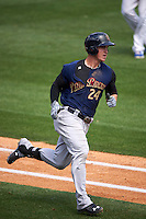 Scranton/Wilkes-Barre RailRiders first baseman Tyler Austin (24) runs to first during a game against the Buffalo Bisons on July 2, 2016 at Coca-Cola Field in Buffalo, New York.  Scranton defeated Buffalo 5-1.  (Mike Janes/Four Seam Images)