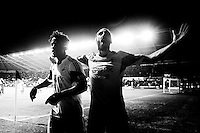 Saturday 2nd Febuaray 2014<br /> Pictured: Wilfried Bony celebrates his goal with Chico Flores <br /> Re: Barclays Premier League Swansea City FC  v Cardiff City FC at the Liberty Stadium, Swansea