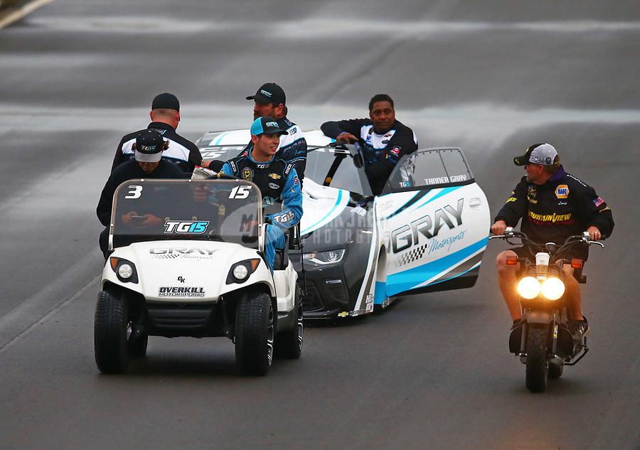 May 19, 2017; Topeka, KS, USA; NHRA pro stock driver Tanner Gray and crew during qualifying for the Heartland Nationals at Heartland Park Topeka. Mandatory Credit: Mark J. Rebilas-USA TODAY Sports