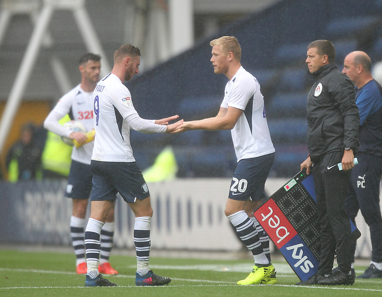 Preston North End's Louis Moult is repaced by Preston North End's Jayden Stockley<br /> <br /> Photographer Mick Walker/CameraSport<br /> <br /> The EFL Sky Bet Championship - Preston North End v Wigan Athletic - Saturday 10th August 2019 - Deepdale Stadium - Preston<br /> <br /> World Copyright © 2019 CameraSport. All rights reserved. 43 Linden Ave. Countesthorpe. Leicester. England. LE8 5PG - Tel: +44 (0) 116 277 4147 - admin@camerasport.com - www.camerasport.com