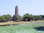 Ruins of a Buddhist temple in Ayutthaya near Bangkok, Thailand.