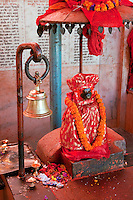 Kathmandu, Nepal.  Hindu God Hanuman, the Monkey God, in a Neighborhood Temple.
