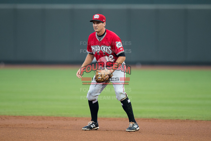 Carolina Mudcats second baseman Reed Harper (12) on defense against the Winston-Salem Dash at BB&T Ballpark on July 23, 2015 in Winston-Salem, North Carolina.  The Dash defeated the Mudcats 3-2.  (Brian Westerholt/Four Seam Images)