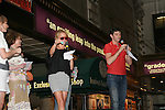 "Ugly Betty's Michael Urie and Becky Newton on stage with hostMary Tyler Moore at Broadway Barks 11 - a ""Pawpular"" star-studded dog and cat adopt-a-thon on July 11, 2009 in Shubert Alley, New York City, NY. (Photo by Sue Coflin/Max Photos)"