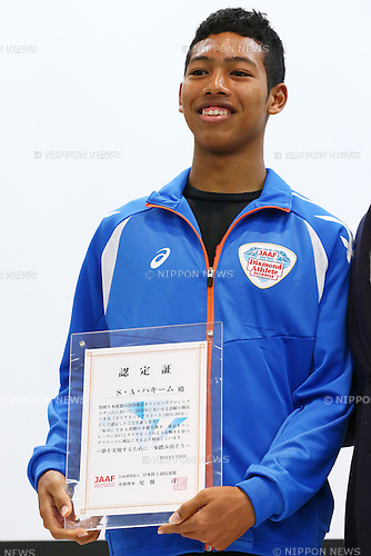,<br /> JANUARY 9, 2015 - Athletic : <br /> Certification ceremony of Diamond athletes is held at Ajinomoto National Training Center, Tokyo, Japan.<br /> Diamond athletes is players who would play an active part in Tokyo Olympic 2020.<br /> (Photo by Shingo Ito/AFLO SPORT) [1195]