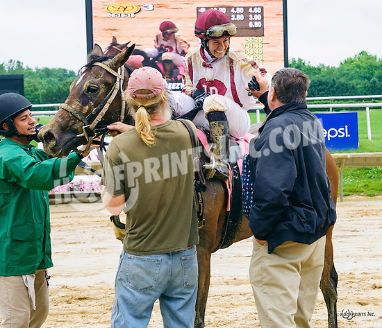 Ez Breezy winning at Delaware Park on 6/16/16  This is trainer, Robert A. Raymond's 1200th win!