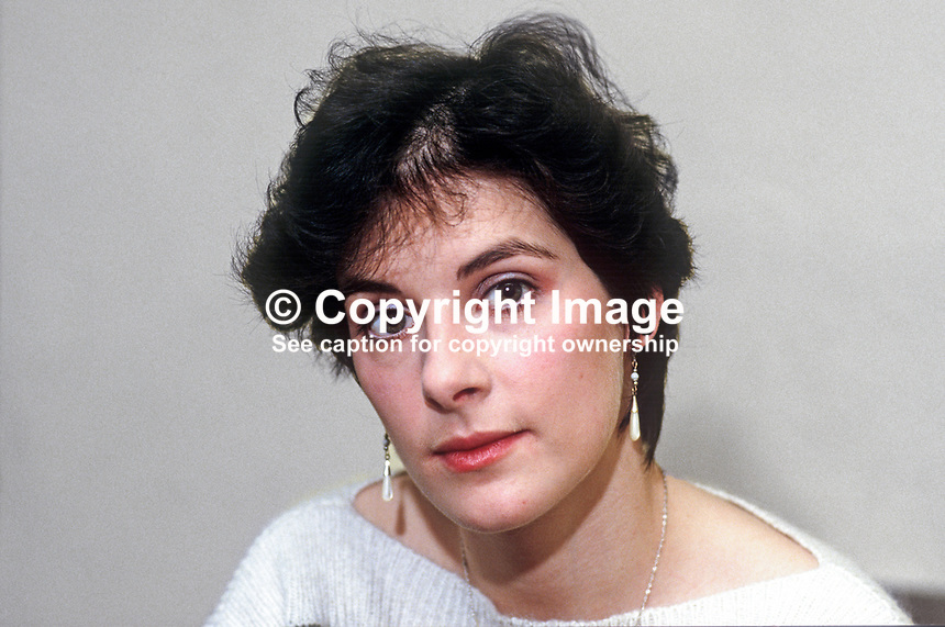 Enya Ni Bhraonain, aka Eithne Brennan, singer, composer, film scorist, formerly with Ckannad, 19861115ENB2.<br /> <br /> Copyright Image from Victor Patterson, 54 Dorchester Park, Belfast, UK, BT9 6RJ<br /> <br /> t1: +44 28 9066 1296 (from Rep of Ireland 048 9066 1296)<br /> t2: +44 28 9002 2446 (from Rep of Ireland 048 9002 2446)<br /> m: +44 7802 353836<br /> <br /> victorpatterson@me.com<br /> www.victorpatterson.com<br /> <br /> Please see my Terms and Conditions of Use at victorpatterson.com . It is IMPORTANT that you familiarise yourself with them.<br /> <br /> Images used on the Internet incur an additional cost and must be visibly watermarked i.e. &copy;Victor Patterson within the body of the image and copyright metadata must not be deleted. Images used on the Internet have a size restriction of 4kbs and are chargeable at rates available at victorpatterson.com.<br /> <br /> This image is only available for the use of the download recipient i.e. television station, newspaper, magazine, book publisher, etc, and must not be passed on to any third party. It is also downloaded on condition that each and every usage is notified within 7 days to victorpatterson@me.com<br /> <br /> The right of Victor Patterson to be identified as the author is asserted in accordance with The Copyright Designs And Patents Act (1988). All moral rights are asserted.