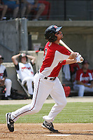 Eric Eymann #9 of the Carolina Mudcats at bat during a game against the West Tenn Diamond Jaxx on May 30, 2010 in Zebulon, NC.