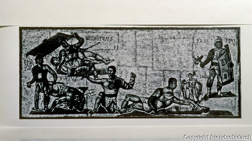 Italy: Rome--Gladiators, Mosaic. Torre Nuova, Rome, 4 C. A.D. Galleria Borghese, Rome.