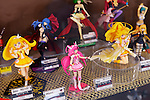 Cute anime figures Cure and other characters on display in a store, Tokyo, Japan.