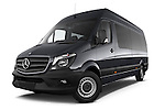 Stock pictures of low aggressive front three quarter view of a 2014 Mercedes Benz Sprinter 316CDi MWB 4 Door Combi 2WD Low Aggressive