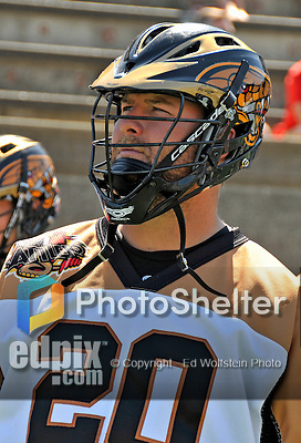 23 August 2008: Rochester Rattlers' Attackman Jeff Zywicki prepares for the start of play against the Philadelphia Barrage during the Semi-Finals of the Major League Lacrosse Championship Weekend at Harvard Stadium in Boston, MA. The Rattlers defeated the Barrage 16-15 in sudden death overtime, advancing to the upcoming Championship Game...Mandatory Photo Credit: Ed Wolfstein Photo