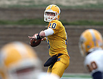 SIOUX FALLS, SD - MAY 4:  Quarterback Justin Heinrich #10 from Augustana looks to a receiver during the Vikings Spring Game Saturday morning at Kirkeby-Over Stadium on the Augustana College Campus. (Photo by Dave Eggen/Inertia)