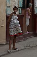 pregnant girl, street scene in Havana Veija, Cuba