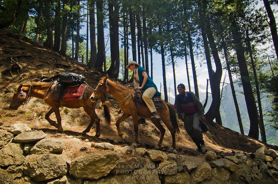 Western tourist on horseback with guide in the stunning alpine wonderland above Naranag, Kashmir, India.