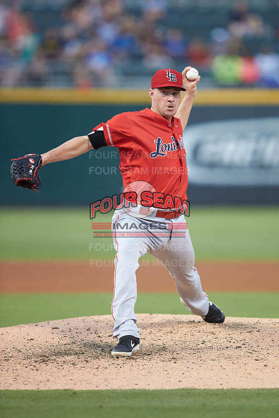 Louisville Bats relief pitcher Joe Mantiply (43) in action against the Charlotte Hornets at BB&T BallPark on June 22, 2019 in Charlotte, North Carolina. The Hornets defeated the Bats 7-6. (Brian Westerholt/Four Seam Images)