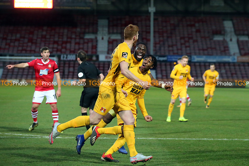 O's Matt Harrold scores from the pen spot and celebrates with team mates during Wrexham vs Leyton Orient, Buildbase FA Trophy Football at the Racecourse Ground on 12th January 2019
