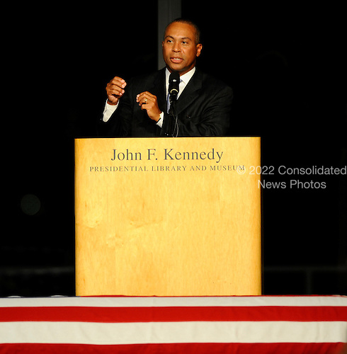 Boston, MA - August 28, 2009 -- Governor Deval Patrick of Massachusetts speaks during the Celebration of Life Memorial Service for Senator Edward Kennedy at the John F. Kennedy Library in Boston, Massachusetts, USA 28 August 2009.  Senator Edward Kennedy, 77, died 25 August 2009 after a 14-month battle with brain cancer..Credit: CJ  Gunther - Pool via CNP
