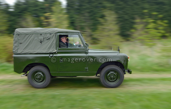 Rare military spec Series 2 88 two-wheel-drive Land Rover 18 CL 41 participating in the Gaydon Heritage Land Rover Run 2006. Europe, England, UK. --- No releases available. Automotive trademarks are the property of the trademark holder, authorization may be needed for some uses.