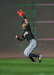 19 September 2015: Miami Marlins outfielder Ichiro Suzuki pulls in a fly ball during a game against the Washington Nationals at Nationals Park in Washington, DC. The Marlins fell to the Nationals 5-2 in the third game of their 4-game series. Mandatory Credit: Ed Wolfstein Photo *** RAW (NEF) Image File Available ***